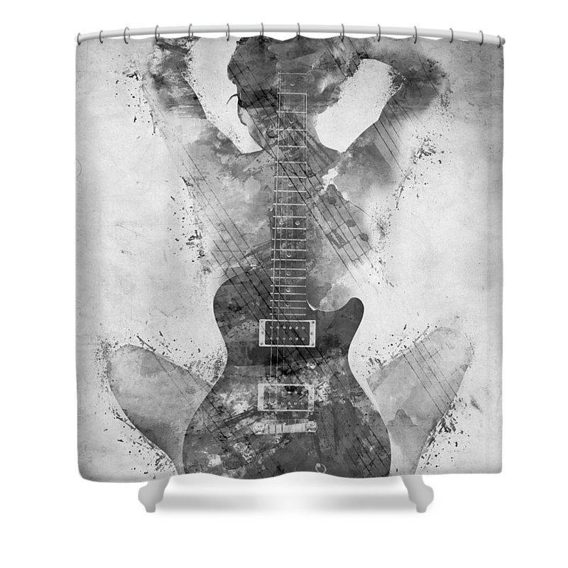 Guitar Shower Curtain featuring the digital art Guitar Siren in Black and White by Nikki Smith