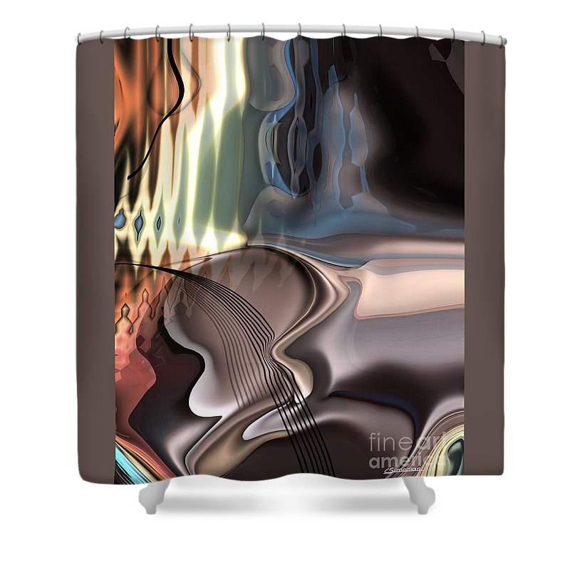 Music Shower Curtain featuring the painting Guitar sound by Christian Simonian