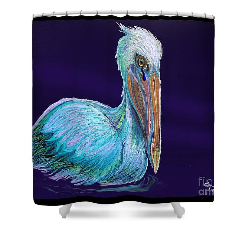 Pelican Art Shower Curtain featuring the digital art Gulf Coast Survivor by Nick Gustafson