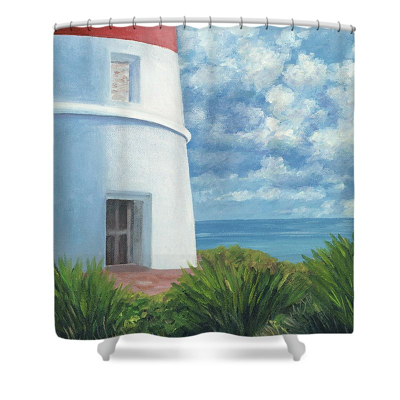 Seascape Shower Curtain featuring the painting Gun Cay Lighthouse by Danielle Perry