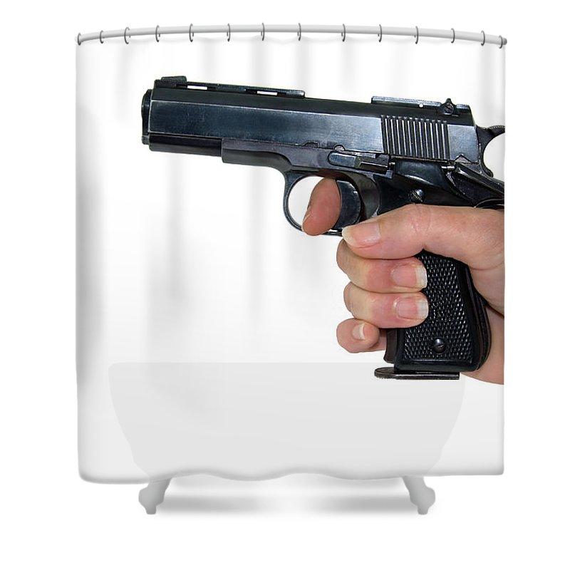 Gun Shower Curtain featuring the photograph Gun Safety by Charles Beeler