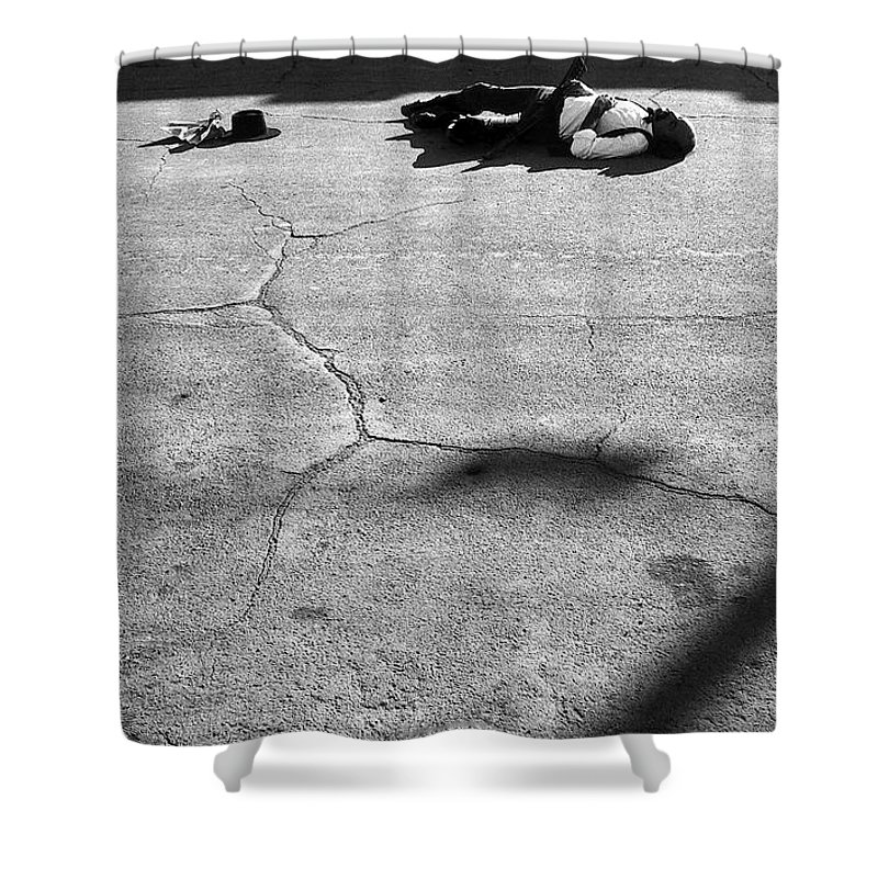 Gunfight Re-enactment Tombstone Arizona Helldorado Days Black And White Shower Curtain featuring the photograph Gunfight Re-enactment Tombstone Arizona 1979 by David Lee Guss