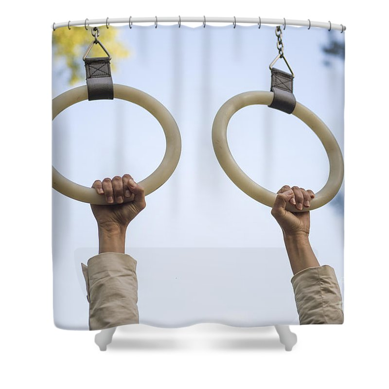Hand Shower Curtain featuring the photograph Gymnastic Rings by Mats Silvan
