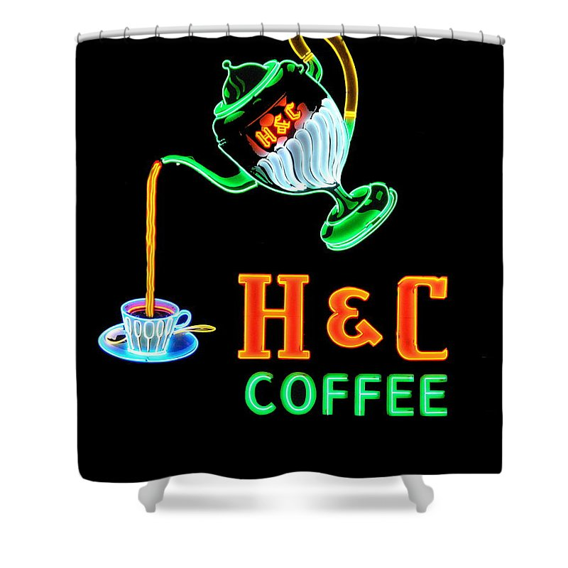 H&c Coffee Shower Curtain featuring the photograph H And C Sign by Eric Liller
