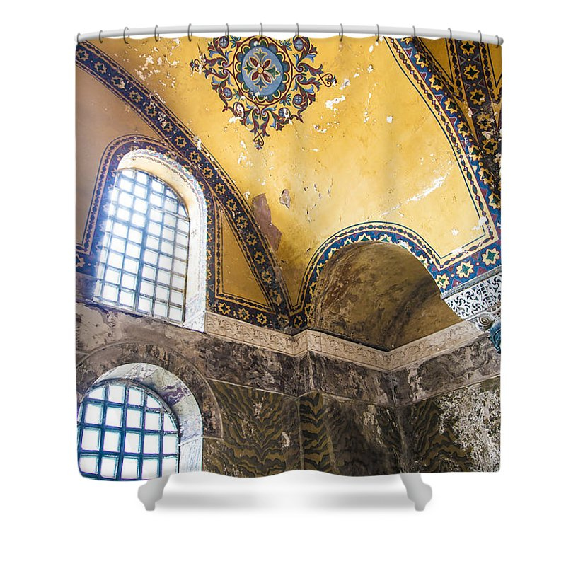 Hagia Shower Curtain featuring the photograph Hagia Sofia Interior 14 by Antony McAulay