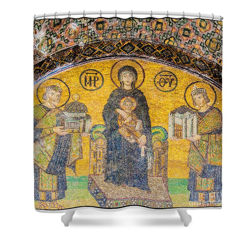 Istanbul Shower Curtain featuring the photograph Hagia Sofia Mosaic 03 by Antony McAulay