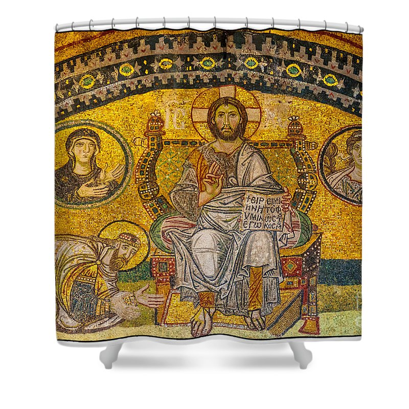 Istanbul Shower Curtain featuring the photograph Hagia Sofia Mosaic 04 by Antony McAulay