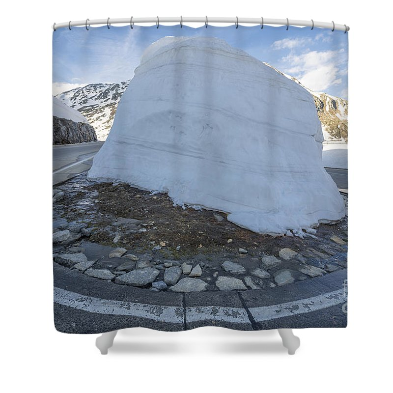 Hairpin Bend Shower Curtain featuring the photograph Hairpin Bend With Snow by Mats Silvan