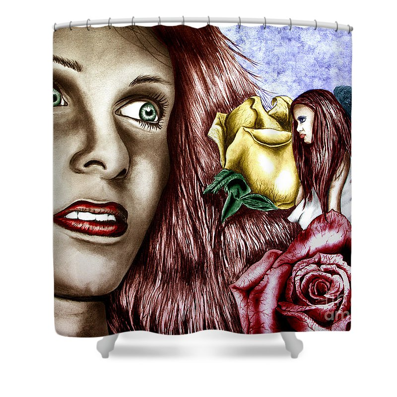 Haleys Apparition Shower Curtain featuring the drawing Haleys Apparition Colored by Peter Piatt