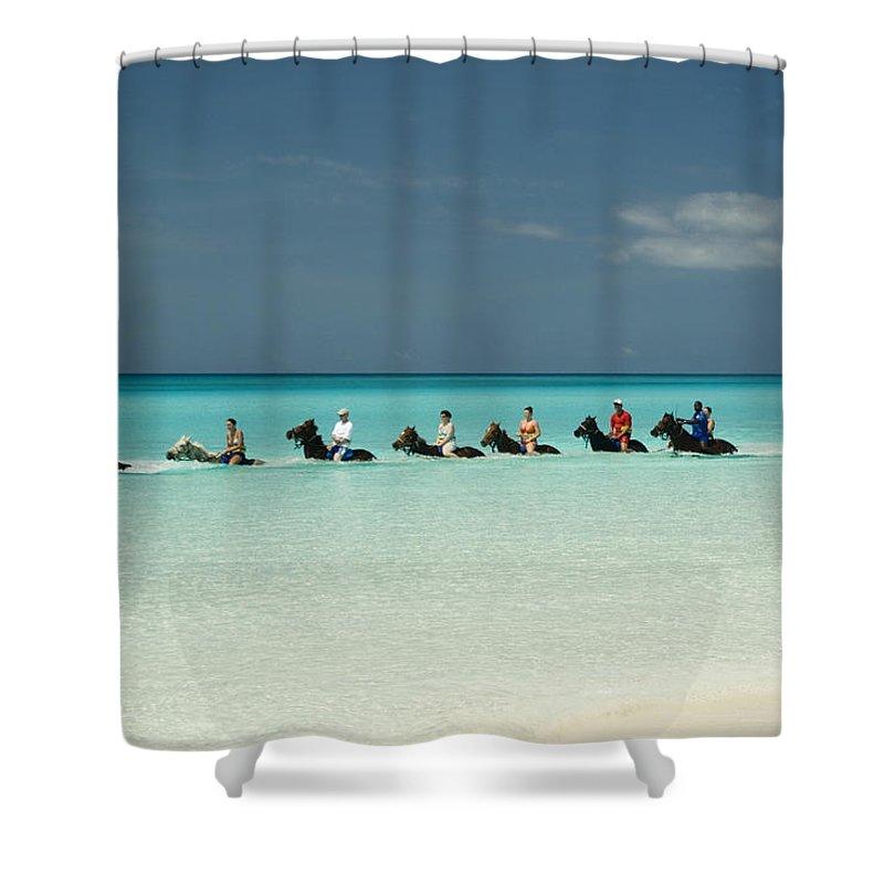 Horseback Shower Curtain Featuring The Photograph Half Moon Cay Bahamas Beach Scene By David Smith