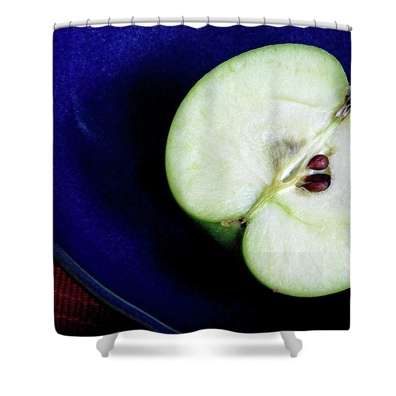 Healthy Eating Shower Curtain featuring the photograph Half Of A Green Apple In A Blue Bowl by Rebecca E Marvil