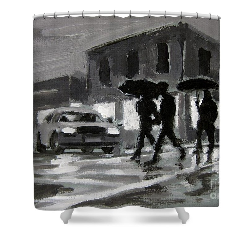 Halifax Untitled Number Five Shower Curtain featuring the painting Halifax Untitled Number Five by John Malone