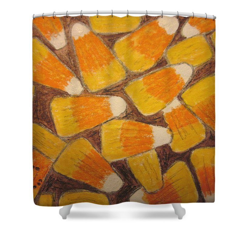 Halloween Shower Curtain featuring the painting Halloween Candy Corn by Kathy Marrs Chandler