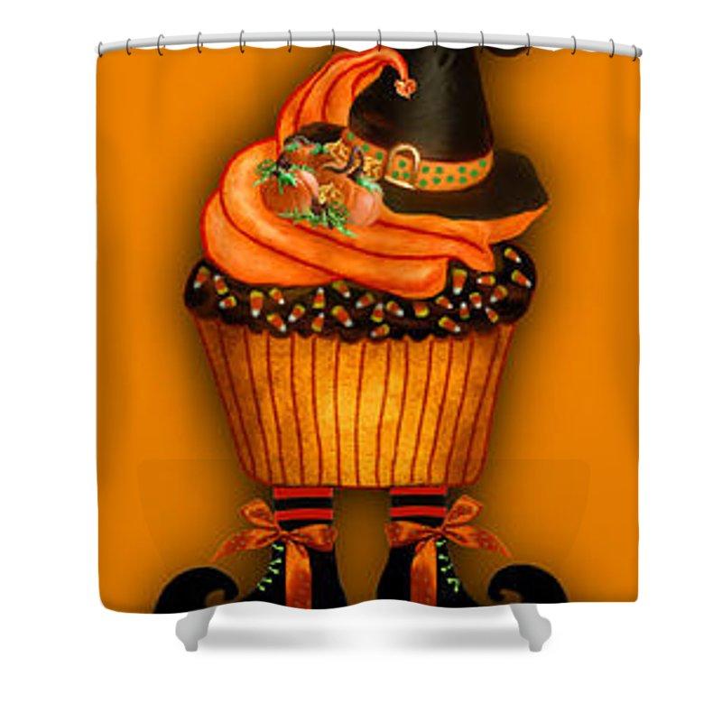 Halloween Art Shower Curtain featuring the mixed media Halloween Cupcakes - Orange by Carol Cavalaris