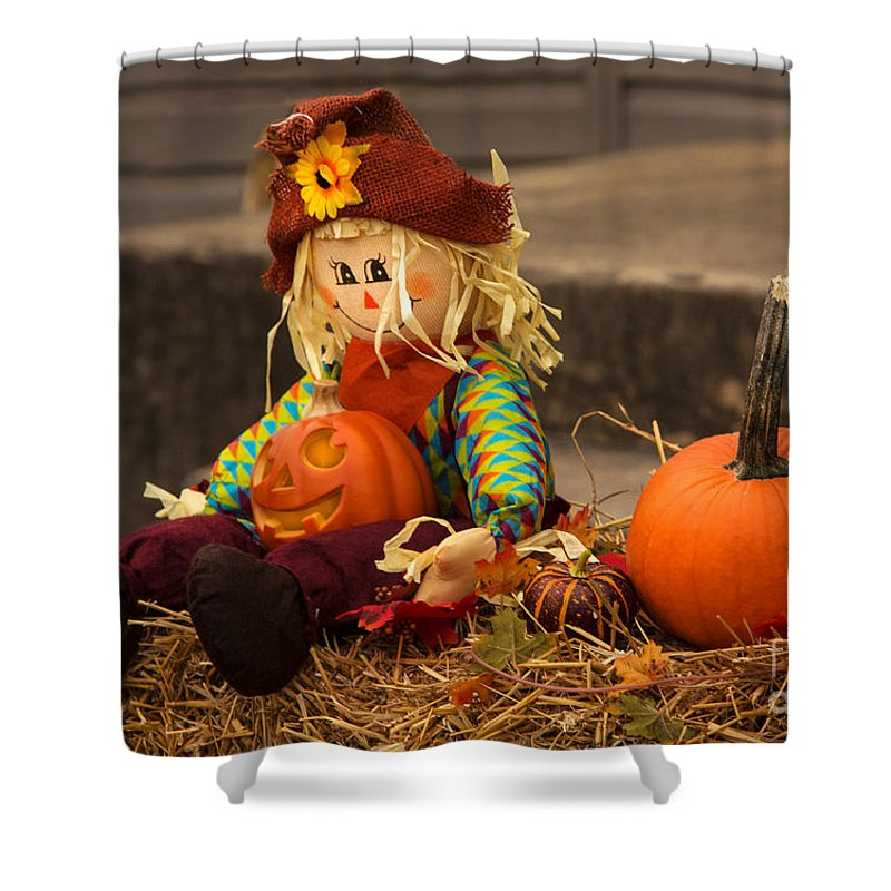 Fall Shower Curtain featuring the photograph Halloween Doll by Iris Richardson