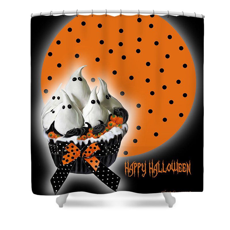 Halloween Art Shower Curtain featuring the mixed media Halloween Ghost Cupcake 2 by Carol Cavalaris
