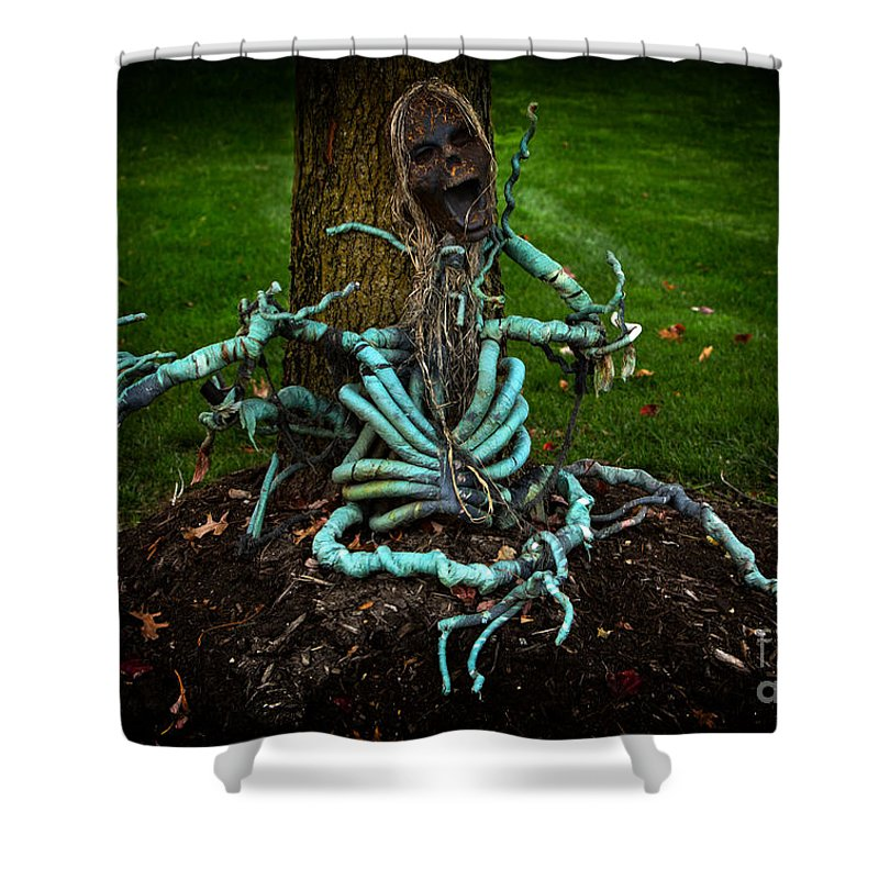 Iris Holzer Richardson Shower Curtain featuring the photograph Halloween Green Skeleton Vinette by Iris Richardson