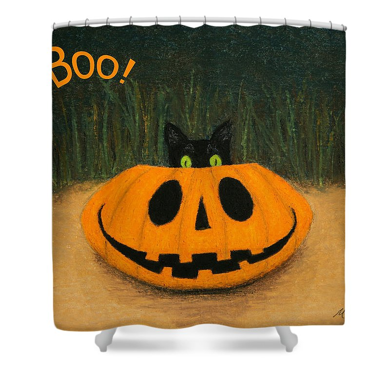 Oil Pastel Shower Curtain featuring the painting Halloween Kitty Boo by Marna Edwards Flavell