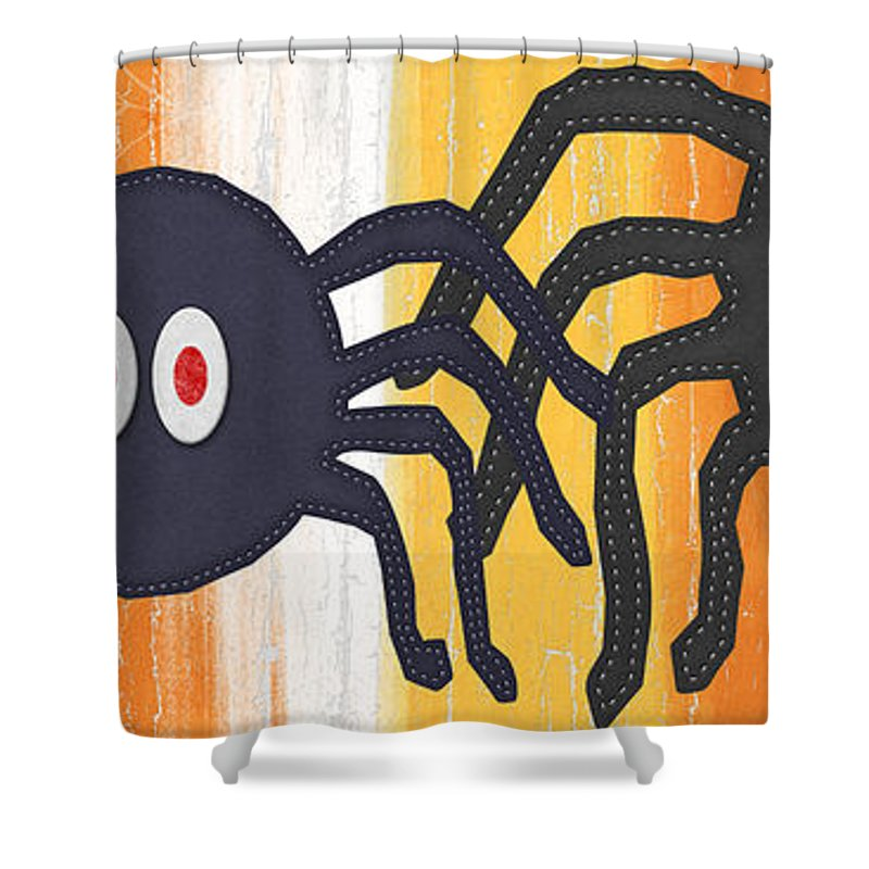Spiders Shower Curtain featuring the painting Halloween Spiders Sign by Linda Woods