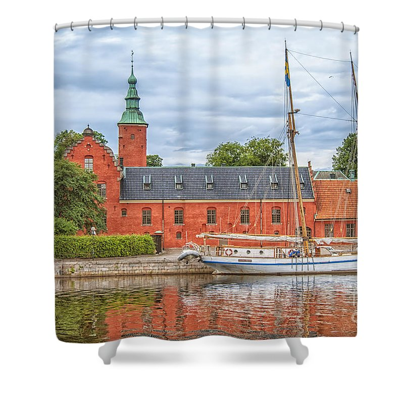 Travel Shower Curtain featuring the photograph Halstad Castle 03 by Antony McAulay