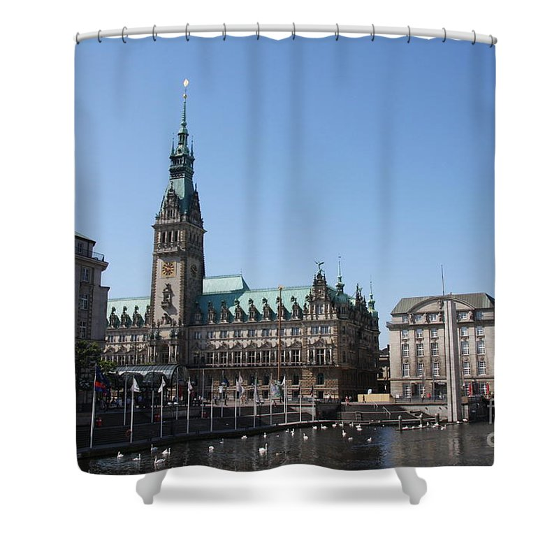 Hamburg Shower Curtain featuring the photograph Hamburg - City Hall With Fleet - Germany by Christiane Schulze Art And Photography