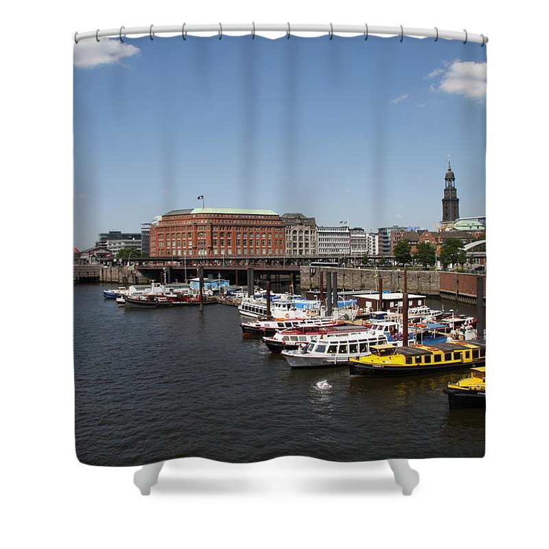 Hamburg Shower Curtain featuring the photograph Hamburg Port With Fleet by Christiane Schulze Art And Photography