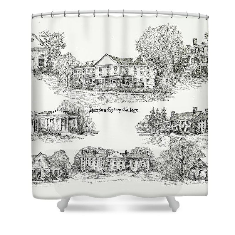 Illustrations Shower Curtain Featuring The Digital Art Hampden Sydney College By Jessica Bryant