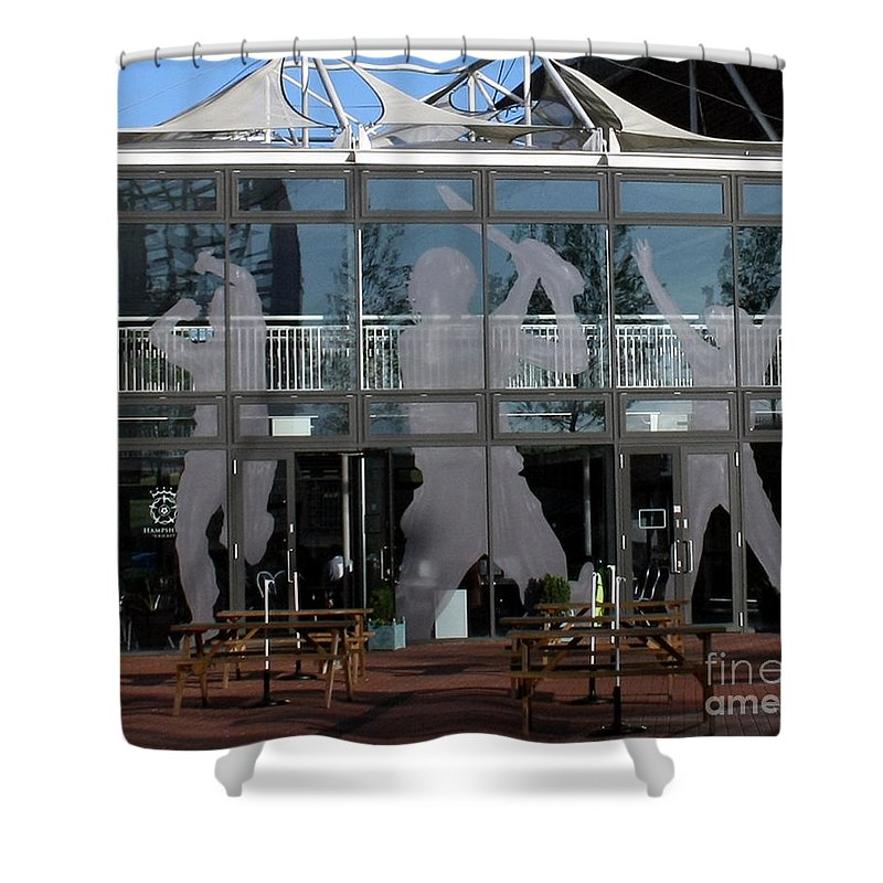 Cricket Shower Curtain featuring the photograph Hampshire County Cricket Glass Pavilion by Terri Waters