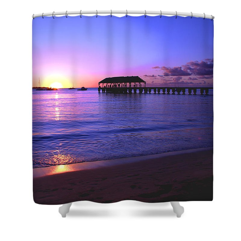 Hanalei Bay Pier Sunset Seascape Kauai Hawaii Shower Curtain featuring the photograph Hanalei Bay Pier Sunset by Brian Harig