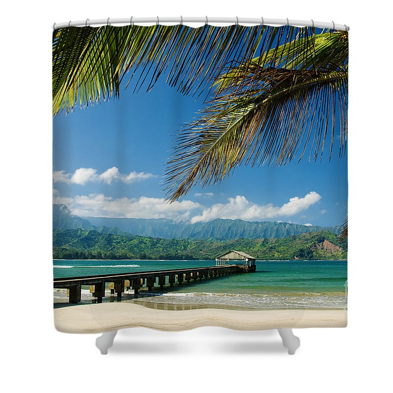 Bay Shower Curtain featuring the photograph Hanalei Pier And Beach by M Swiet Productions
