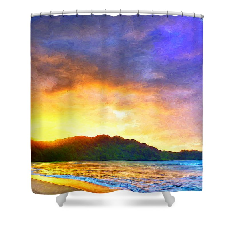 Hanalei Bay Shower Curtain featuring the painting Hanalei Sunset by Dominic Piperata