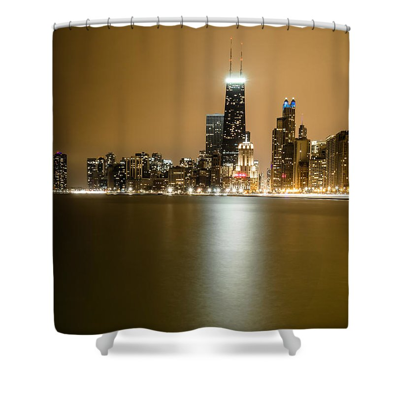Chicago Shower Curtain featuring the photograph Hancock Building Reflection From North Ave Beach by Anthony Doudt