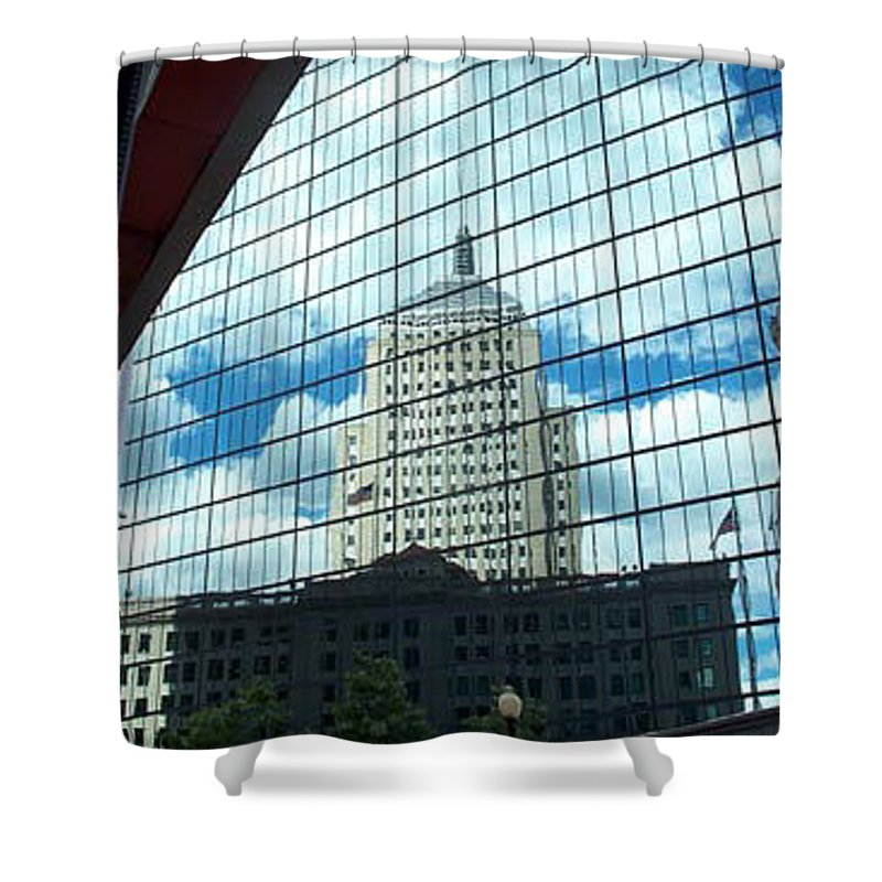 john Hancock Building Shower Curtain featuring the photograph Hancock Towers by Barbara McDevitt