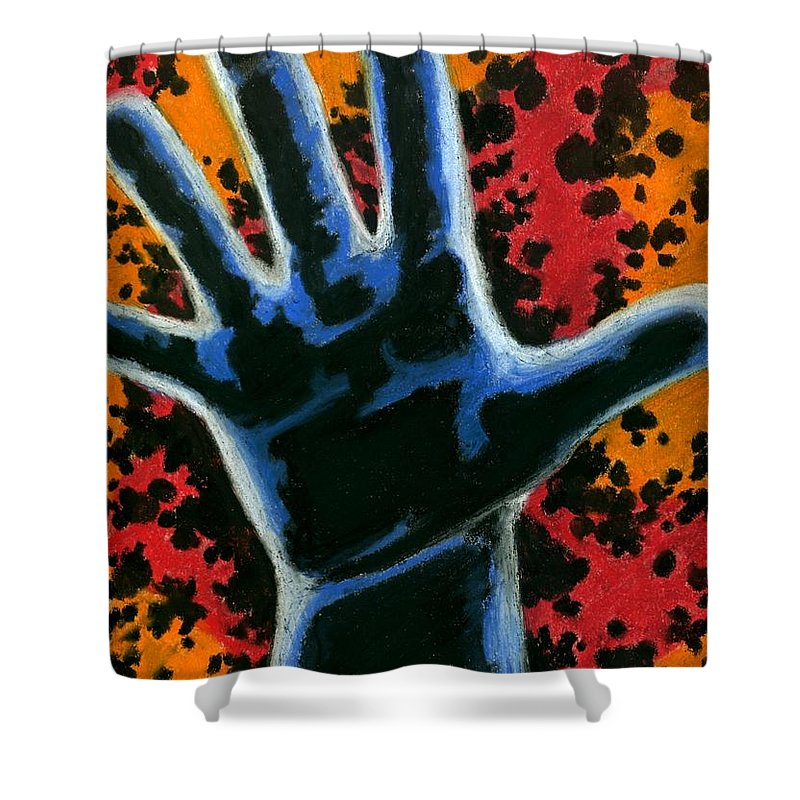 Hand Shower Curtain featuring the drawing Hand 2 by Matthew Howard