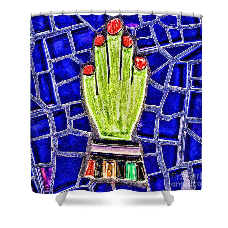 Mosaic Shower Curtain featuring the mixed media Hand Me Down By Diana Sainz by Diana Raquel Sainz