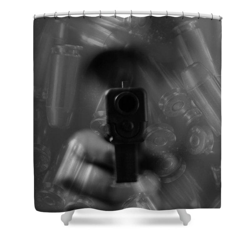 Handgun And Ammunition Shower Curtain featuring the photograph Handgun And Ammunition by Dan Sproul
