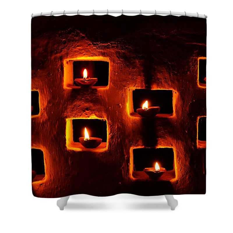 Diwali Shower Curtain featuring the photograph Handmade Oil Candles For Diwali by Image World