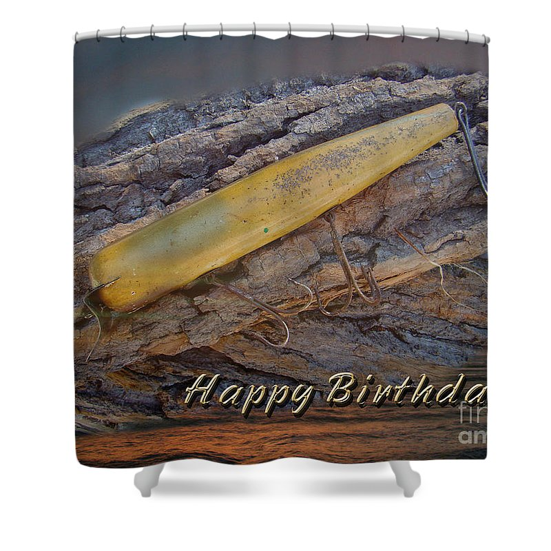 Birthday Shower Curtain featuring the photograph Happy Birthday Greeting Card - Vintage Atom Saltwater Fishing Lure by Mother Nature