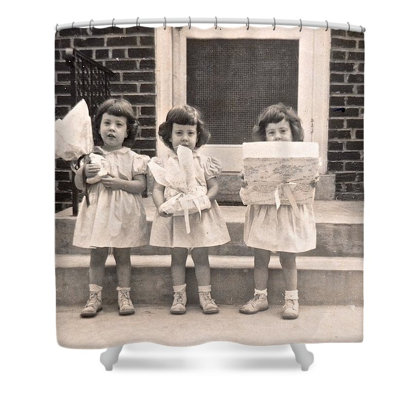 Triplet Children Shower Curtain featuring the photograph Happy Birthday Retro Photograph by Kristina Deane