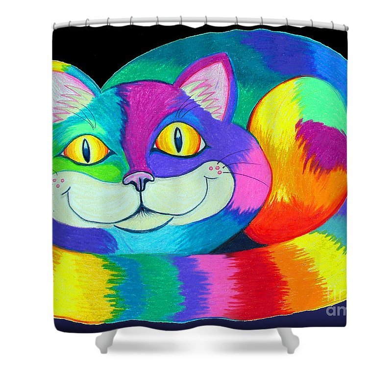 Cat Shower Curtain featuring the drawing Happy Cat Dark Back Ground by Nick Gustafson