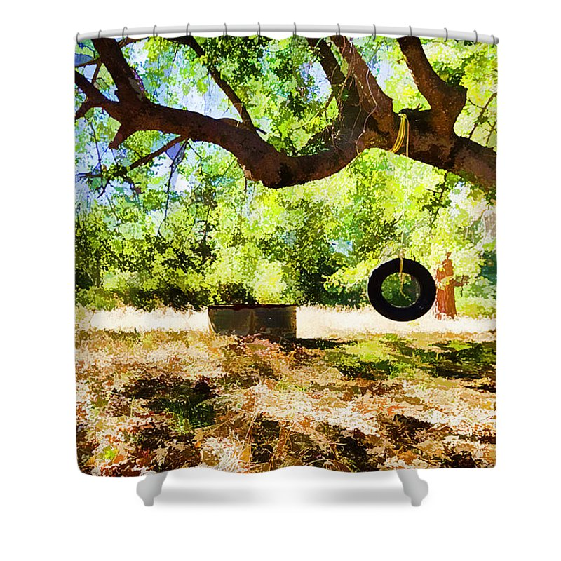 Tire Swing Shower Curtain featuring the photograph Happy Childhood Memories by Scott Campbell