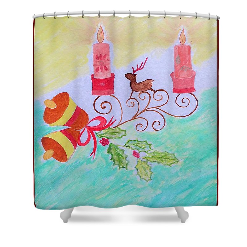 Reindeer Christmas Shower Curtain featuring the painting Happy Christmas by Sonali Gangane