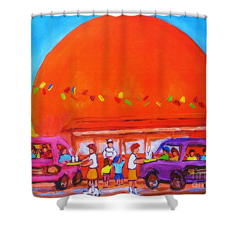 Montreal Shower Curtain featuring the painting Happy Days At The Big Orange by Carole Spandau