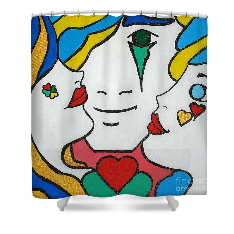 Pop-art Shower Curtain featuring the painting Happy Days by Silvana Abel