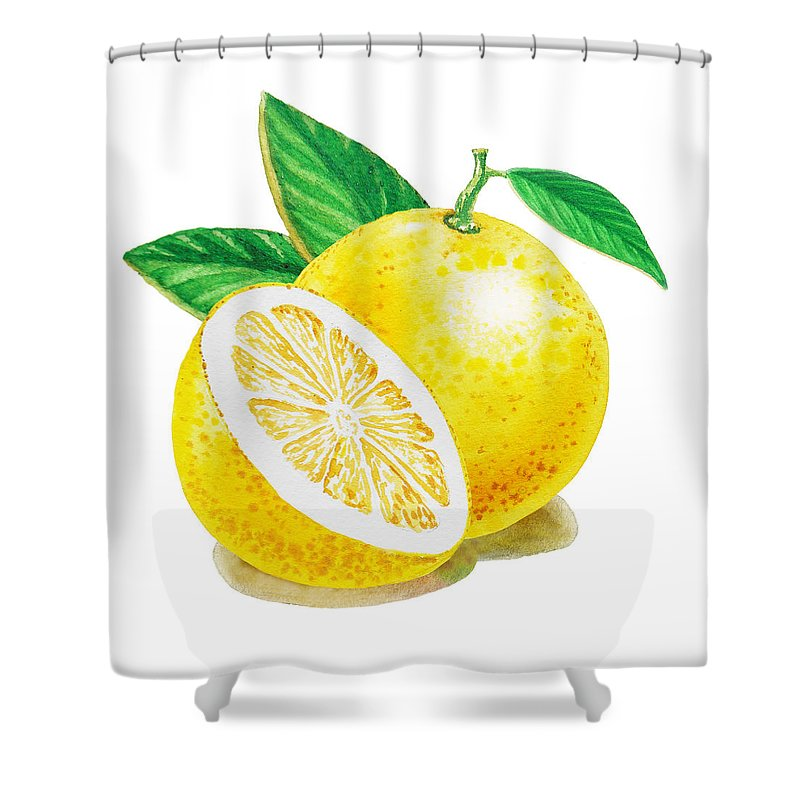 Grapefruit Shower Curtain featuring the painting Happy Grapefruit- Irina Sztukowski by Irina Sztukowski