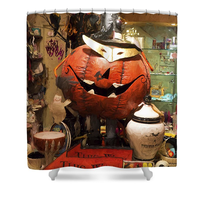 Happy Shower Curtain featuring the photograph Halloween This Way by Gillian Singleton