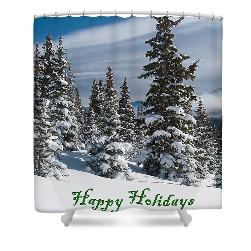 Happy Holidays Shower Curtain featuring the photograph Happy Holidays - Winter Trees And Rising Clouds by Cascade Colors
