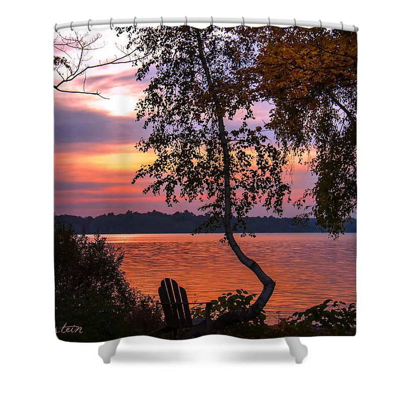Lake Shower Curtain featuring the photograph Happy Hour by Cindy Greenstein