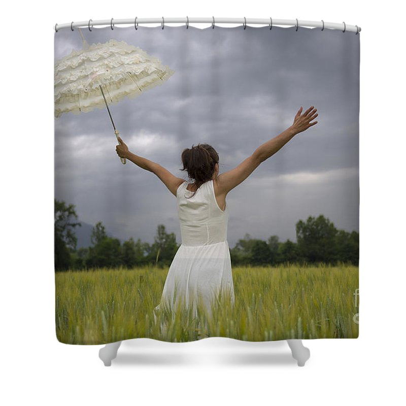 Woman Shower Curtain featuring the photograph Happy by Mats Silvan
