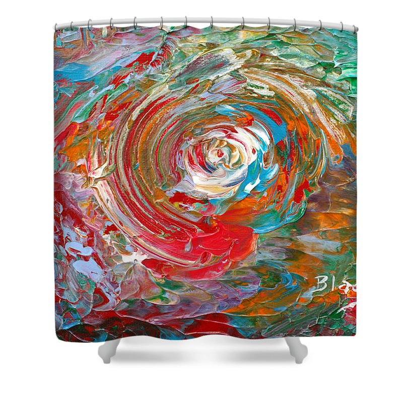 Bold Abstract Shower Curtain featuring the painting Happy Twirl by Donna Blackhall